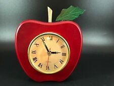 "Beautiful Wood Apple Shaped Wall Clock Red Quartz Clock 6"" x 5"""