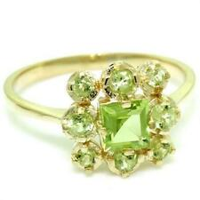 Natural Peridot 9ct 9K 375 Solid Gold Antique Style Ring Genuine Gems + Gold