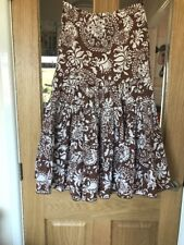 Principles Petite Size 6 Light Brown And White Floral Patterned Full Skirt 29L