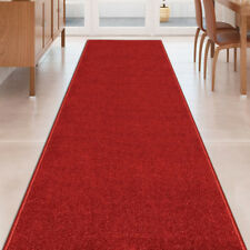 Custom Size Stair Hallway Runner Rug Non Slip Rubber Back SOLID RED