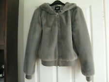 Girls New Look Grey Faux Fur Hooded Grey Bomber Jacket Age 12-13