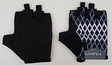 LYNX Cycle Fitness Workout Gloves Black White Lycra Back Padded Palm Small