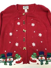 Heirloom Collectibles 2003 Women's Ugly Christmas Sweater Size XL Red w/Snowmen