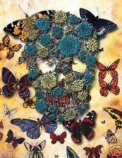 Skull/Butterflies/ Poster/Print/Skeleton/The Rapture/Flowered Skull /17x22 in