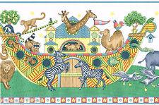 Primitive Noahs Ark Nursery Animals Ship Religious Bible Wall Paper Border Roll