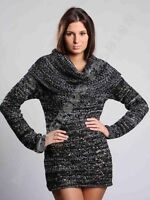 New Ladies Womens Jumper Elegant Knitted Tunic Sweater Top Collar size M L 10 12