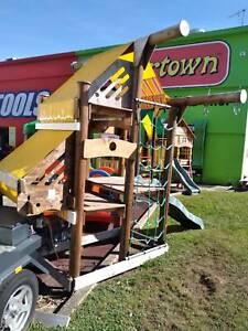 Giant SwingSet LOG Cubby House Slide Swing Sandpit BIG Playground PEARL