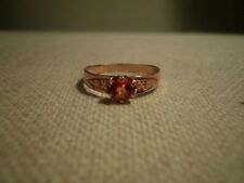 LOVELY  VINTAGE NATURAL PADPARADSCHA SAPPHIRE 14K ROSE GOLD Ring Size-6.5