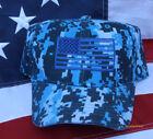 TACTICAL BLUE CAMO HAT CAP USA US FLAG BORDER PATROL CIA FBI DEA POLICE SWAT
