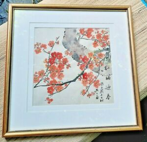 Original Artwork Chinese Ink Painting Cherry / Peach Blossoms Feng Shui