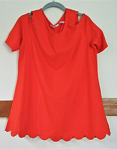 Isaac Mizrahi Live! Cold Shoulder Tunic w/Scallop Hem - Coral - Lg. - Pre-owned
