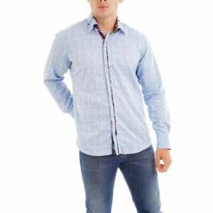 Claudio Lugli Mens Long Sleeve Embroidered Flower Trim Shirt (Sky)