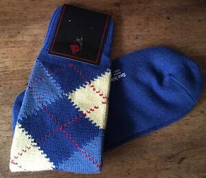 Sozzi Calze Ben Silver Calf Argyle Socks! Sea Island Cotton! One Size Fits All