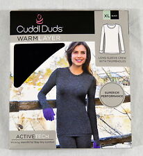 Cuddl Duds Women Warm Base layer Long sleeve crew Top Sz XLarge Black NIP #B124