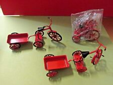 DOLL HOUSE MINIATURES RED TRICYCLE & WAGON TOY ORNAMENTS THREE SETS