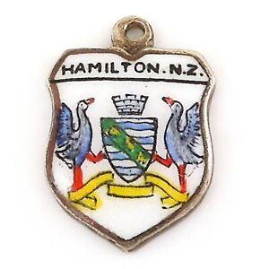 Vintage Enamel HAMILTON NEW ZEALAND COAT ARMS Silver Travel Shield Charm
