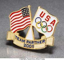 Olympic Pins 2000 Sydney Australia Team Usa Flag & Us Flag Partner 2001