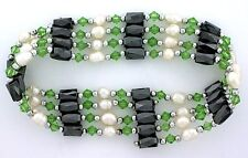 36 Inch Green Crystal Hematite Pearl Magnetic Wrap Bracelet Necklace m36bn13