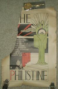 RARE, ANTIQUE LATE 1800'S, ORIGINAL POSTER, THE PHILISTINE, BOOK STORE AD