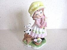 Lovely Vintage Little Girl and her dog / puppy ornament / figurine