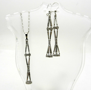 LONG Dangle Beaded Earrings Pendant Chain Set in 14k White Gold 5.8 grams