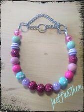 Custom Martingale Beaded Dog Collar Necklace pink, purple, and turquoise Unicorn