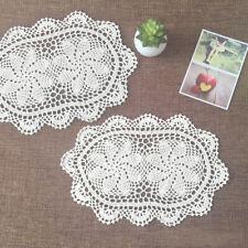 4Pcs Oval Vintage Cotton Placemat Hand Crochet Lace Table Mats White 10''x17''