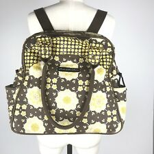 Petunia Pickle Bottom Yellow Brown Backpack Shoulder Diaper Bag Large Canvas Zip