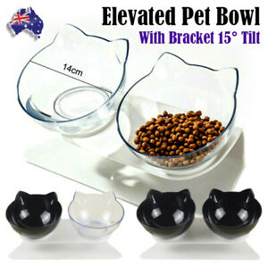 Double Elevated Cat Dog Pet Bowl Feeder Food Water Raised Lifted Stand Bowls NEW