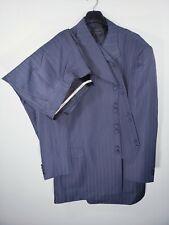 Mens Size 52R 46X29 Gray Pinstripe Eight Button 3 Piece Zoot Suit Long Coat EUC
