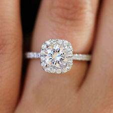 14K WHITE GOLD ROUND SIMULATED DIAMOND ENGAGEMENT RING BRIDAL HALO PRONG 2.0CTW