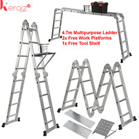 Keraiz® Multi Function 4.75M Aluminium Extension Ladder +Platform+Tool Tray