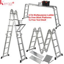 Keraiz ® Multi Fonction 4.75 m Aluminium Extension Ladder + plateforme + outil plateau