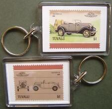 1932 FORD V8 Car Stamp Keyring (Auto 100 Automobile)