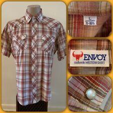Vtg 80s Envoy Metallic Pearl Snap Western Plaid Button Up Shirt Large Cowboy