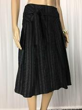 ** JACQUI E ** Size 10 Black White Pinstripe A-Line Corporate Skirt - (A778)