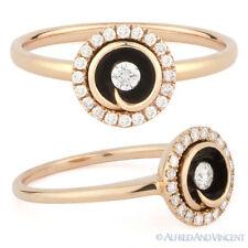 Enamel Fashion Ring 14k Rose Gold 0.21ct Round Brilliant Cut Diamond Right-Hand