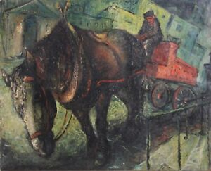 NORMAN LEIBOVITCH-Canadian Modernist-Original Signed Oil-Horse & Carriage