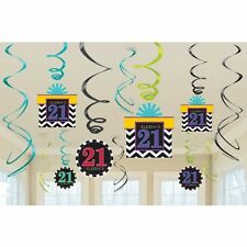 AGED 21 21ST CELEBRATE HAPPY BIRTHDAY PARTY SWIRLS HANGING DECORATION PACK OF 12