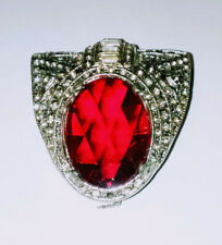 Red Glass Stone Clear Rhinestone Buckle Vintage Art Deco Belt Buckle Silver Tone