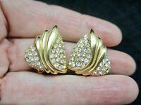 Vintage-1980's Gold Tone Rhinestone Glamour Clip Earrings