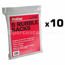 10 x Packs of 5 Woven Heavy Duty Rubble Sacks Builders Gardening Waste Sand Bags