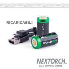 Set 2 Pezzi Batterie CR123 A Ricaricabili NEXTORCH 720 mAh Li-ion Battery USB
