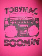 TOBY MAC BOOMIN' T SHIRT Chriatiab Concert Jam Box Ghetto Blaster Hot Pink SMALL