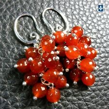 ✨ GROUPED SHIPPING DISCOUNTS Salsa Red Agate  & Plated Silver Cluster Earrings