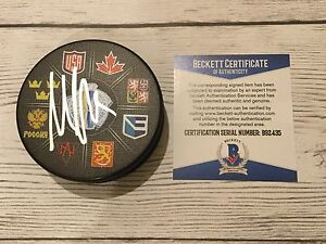 Max Pacioretty Signed 2016 World Cup of Hockey Puck Beckett BAS COA Go USA a