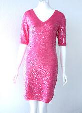 BCBG MAXAZRIA MAURA BEGONIA COMBO SEQUIN V NECK DRESS Size S NWT $338-RackV/23