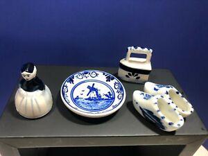 Vintage Miniature Delft Collectibles Set of 4 Different Items