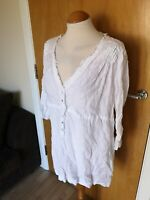Ladies PHASE EIGHT Top Size 14 White Tunic Smart Casual Day LINEN