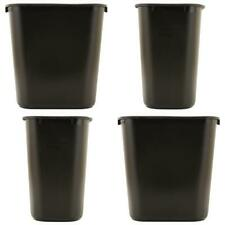Trash Can 7 Gal Waste Garbage Home Office Black Rectangular Plastic Desk Side
